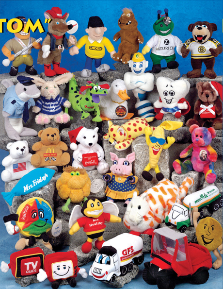 round and circular plush toys personalized to your specifications. We sell embroidered stuffed animals.