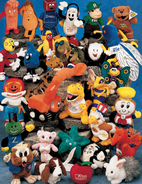 Embroidered plush toy designs include owls, chefs, park rangers, American Eagles and dogs.