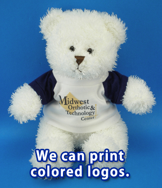 Teddy bear with multi-color logo shirt.