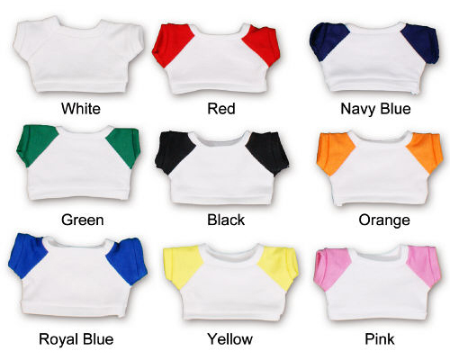 Whte shirts with colored sleeves.